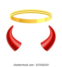 Angel's halo and devil's horns. Vector.