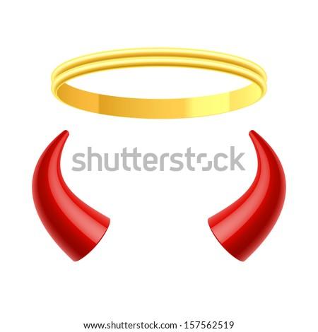 Angels Halo Devils Horns Vector Stock Vector Royalty Free