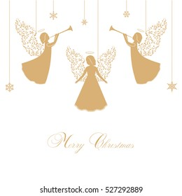 Angels with ornate wings on a white background. Golden isolated angel silhouettes and snowflakes hanging on a cord. Merry Christmas text.