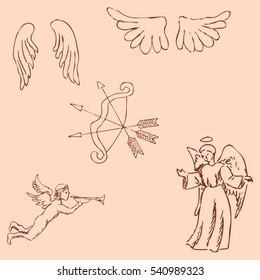 The Angels. Pencil sketch by hand. Vintage colors. Vector