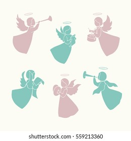 Angels with simple wings and nimbus on a light background. Pink and green silhouettes. Isolated angel figurines. Angels playing musical instruments and singing. Hand drawing vector.