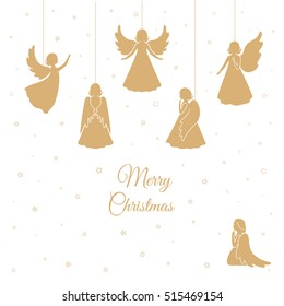 Angels with simple wings on a white background. Golden isolated angel silhouettes and snowflakes hanging on a cord. Merry Christmas text.