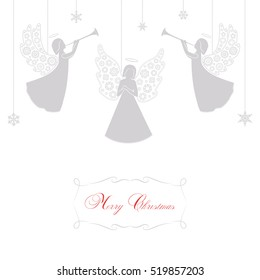 Angels with simple wings on a white background. Silver isolated angel silhouettes and snowflakes hanging on a cord. Merry Christmas red text.