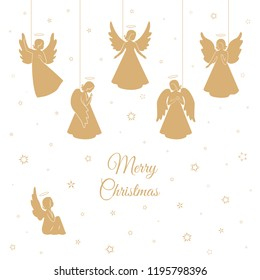 Angels with simple wings and snowflakes on a white background. Golden isolated angel silhouettes hanging on a cords. Merry Christmas text.