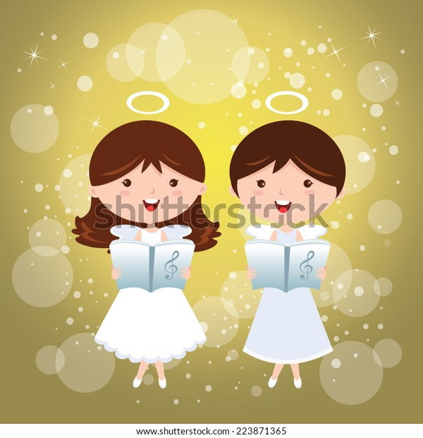 Angels Singing Singing Angles On Sparkles Stock Vector (Royalty Free