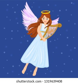 Angels singing and flying