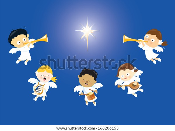 Angels Singing Playing Instruments Stock Vector (Royalty