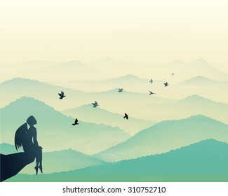 angels sitting on the rock and looking at the pigeons flying above the tranquil hills, vista landscape , early morning in mountains, vector