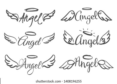 Angels wings emblems. Feather angel wing and halo, sketch feathers bird line tattoo. Hand drawn fantasy winged silhouettes vector isolated