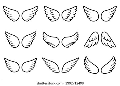 Angels wings set isolated on white background