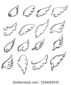Angels wings set isolated on white background.  Hand drawn angel or bird wings. Monochrome drawing elements.