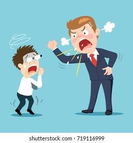 Anger boss and employee, illustration vector cartoon