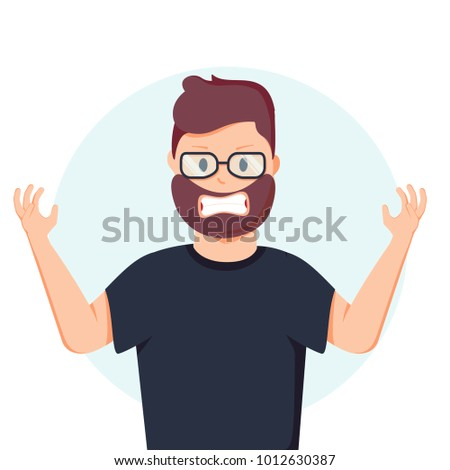97f0809093b6 Anger. The evil man expresses his negative emotions. Vector illustration in  cartoon style.