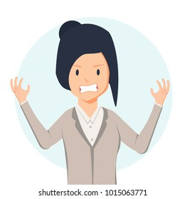 Anger. The evil woman expresses her negative emotions. Vector illustration in cartoon style. Agressive Adult girl character. Feeling annoyed and frustrated concept