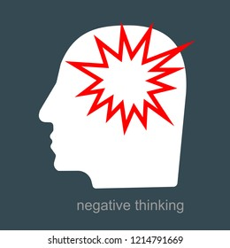 Anger and irritation, anxiety, easy to explode, feeling mental tension, destructive thoughts, experiencing stress, panic attack, hysteric behavior, mental attitude icon vector flat illustration