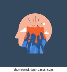 Anger and irritation, easy to explode, feeling mental tension, destructive thoughts, experiencing stress, panic attack, hysteric behavior, volcano eruption in head, vector flat illustration