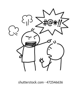 Anger Management Doodle. A hand drawn vector doodle illustration of an angry stick figure and yelling bad words.