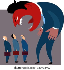Anger management problems. Crazy mad boss yells at employees, conceptual vector illustration