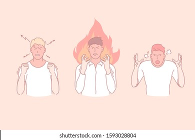 Anger, outburst, wrath, negative emotions concept. Irritation, fury and chilling out, rage stages, irate young men, boys gesticulating with hands, emotional explosion. Simple flat vector