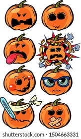 anger rage disease explosion madness Emoji Halloween pumpkin set collection. comic cartoon pop art retro vector illustration drawing