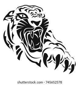 Anger Of A Tiger Black Tattoo Vector Illustration The Head And Paw