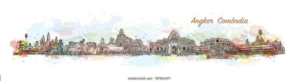 Angkor Cambodia Skyline. Watercolor splash with sketch in vector illustration.