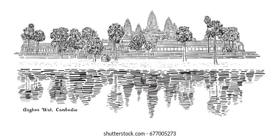 Angkor Wat, Cambodia Sketch Drawing, Travel Landmark and Tourist Attraction