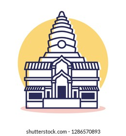 Angkor Wat Icon - Travel and Destination with Outline Style