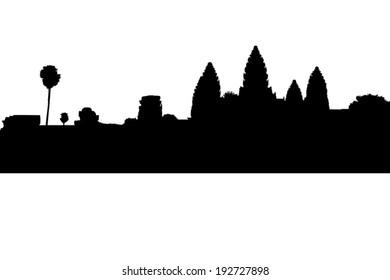 Angkor Wat silhouette at Siem Reap. Cambodia