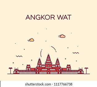 Angkor Wat skyline, Cambodia. Trendy vector illustration, linear style