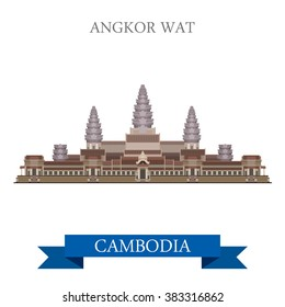 Angkor Wat temple complex in Cambodia. Flat cartoon style historic sight showplace attraction web site vector illustration. World countries cities vacation travel sightseeing Asia collection.