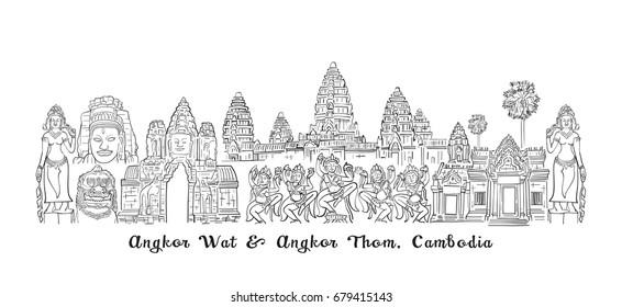 Angkor Wat and Angkor Thom, Cambodia Sketch Drawing, Travel Landmark and Tourist Attraction