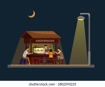 Angkringan is traditional street food from jogjakarta indonesia in night. concept in cartoon illustration vector