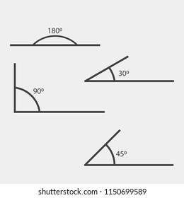 Angle of 180, 45,30,90 degrees vector illustration. The symbol of geometry, mathematics. Set of vector icons consisting of angles of different degrees. Layers grouped for easy editing illustration..
