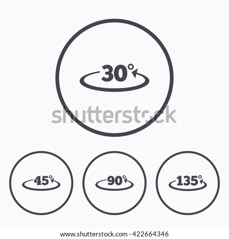 Angle 30135 Degrees Icons Geometry Math Stock Vector