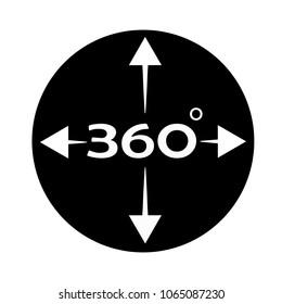 angle 360 degree icon on white background. 360 degree view sign. flat style. rotation of 360 gradusav.