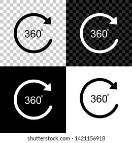 Angle 360 degrees icon isolated on black, white and transparent background. Rotation of 360 degrees. Geometry math symbol. Full rotation. Vector Illustration