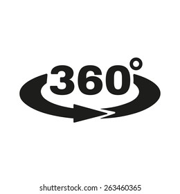 The Angle 360 degrees icon. Rotation symbol. Flat Vector illustration