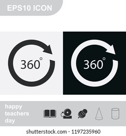 Angle 360 degrees sign flat black and white vector icon. Arrow rotate illustration.