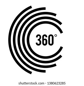 Angle 360 degrees sign icon. Geometry math symbol. Full rotation. Design elements. Curved many streak. Abstract Circular logo element on white background isolated. Vector illustration EPS 10