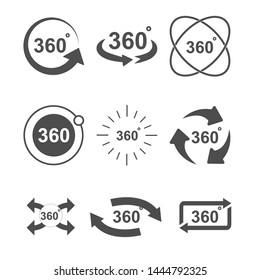 Angle 360 degrees sign icon set design illustration