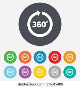 Angle 360 degrees sign icon. Geometry math symbol. Full rotation. Round colourful 11 buttons. Vector