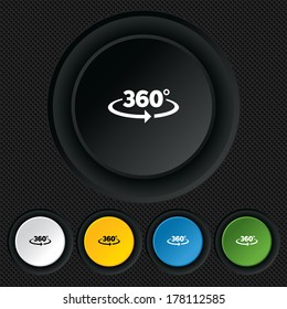 Angle 360 degrees sign icon. Geometry math symbol. Full rotation. Round colourful buttons on black texture. Vector