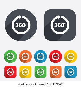 Angle 360 degrees sign icon. Geometry math symbol. Full rotation. Circles and rounded squares 12 buttons. Vector