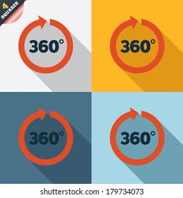Angle 360 degrees sign icon. Geometry math symbol. Full rotation. Four squares. Colored Flat design buttons. Vector