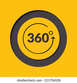 Angle 360 degrees sign icon. Geometry math symbol. Full rotation. Round button. Vector