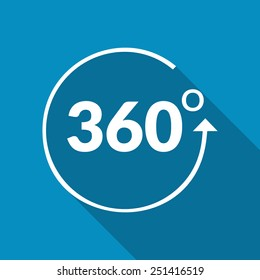 Angle 360 degrees sign icon. Geometry math symbol. Full rotation. Modern flat icon with long shadow effect