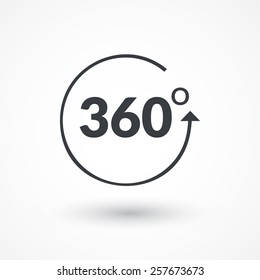 Angle 360 degrees sign icon. Geometry math symbol. Full rotation.
