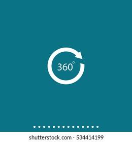Angle 360 degrees sign icon. Arrow rotate illustration.