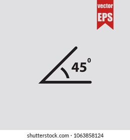 Angle of 45 degrees icon in trendy isolated on grey background.Vector illustration.